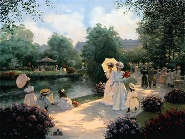 Christa Kieffer A Stroll In The Park By Christa Kieffer Canvas  Artist Proof