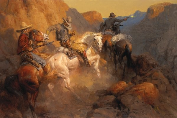 Andy Thomas Ambush On The Bandit Trail By Andy Thomas Giclee On Canvas  Artist Proof