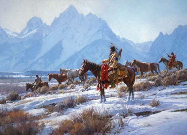 Martin GrelleApsaalooke Horse Hunters By Martin Grelle Giclee On Canvas  Signed & Numbered