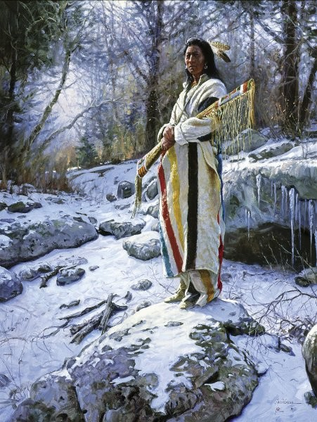 Martin Grelle Apsaroke Guardian By Martin Grelle Giclee On Canvas  Signed & Numbered
