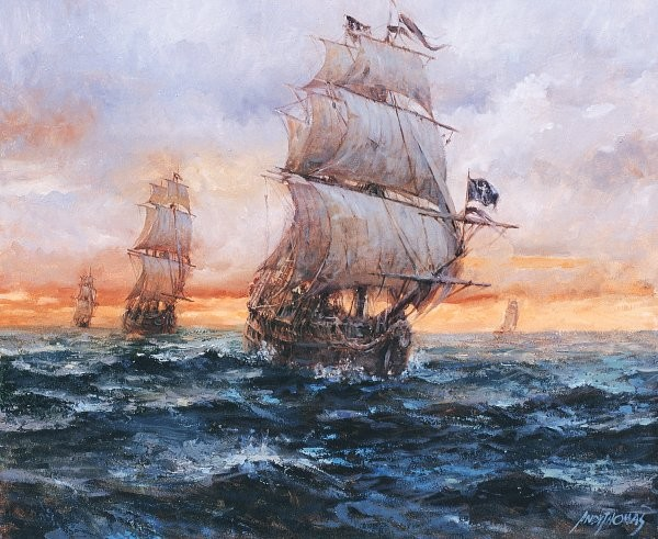 Andy ThomasBlack Barts Fleet By Andy Thomas Giclee On Canvas Open Edition Signed