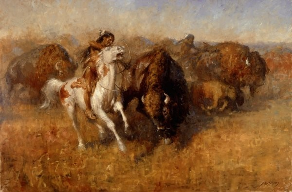 Andy Thomas Buffalo Hunt By Andy Thomas Giclee On Canvas  Signed & Numbered