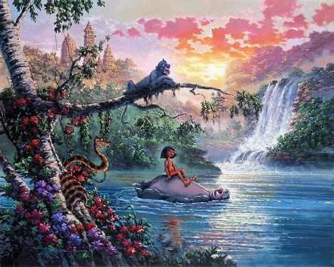 Rodel Gonzalez The Bear Necessities Of Life  - From Disney The Jungle Book Hand-Embellished Giclee on Canvas
