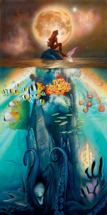 John Rowe Fathoms Below - From Disney The Little Mermaid Giclee On Canvas