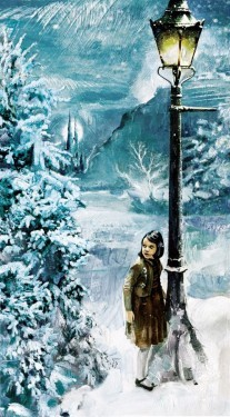 Jim Salvati Lucy And The Lamppost Narniahand Hand-Embellished Giclee on Canvas