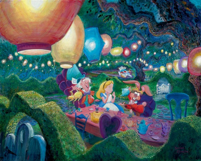 Harrison Ellenshaw Mad Hatters Tea Party - From Disney Winnie the Pooh Ciarograph on Paper