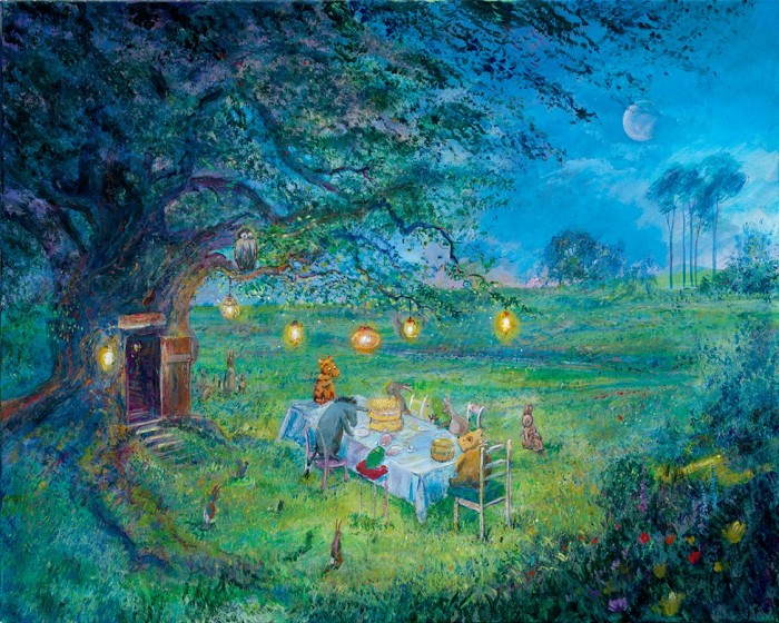 Harrison Ellenshaw Poohs 80th Garden Party - From Disney Winnie the Pooh Hand-Embellished Giclee on Canvas