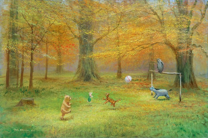 Peter Ellenshaw Pooh Soccer - From Disney Winnie the Pooh Giclee On Canvas
