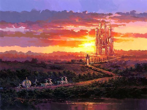 Rodel Gonzalez Castle At Sunset Hand-Embellished Giclee on Canvas