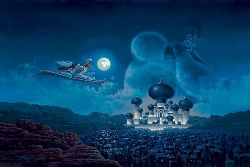 Rodel Gonzalez Flight Over Agrabah - From Disney Aladdin Hand-Embellished Giclee on Canvas