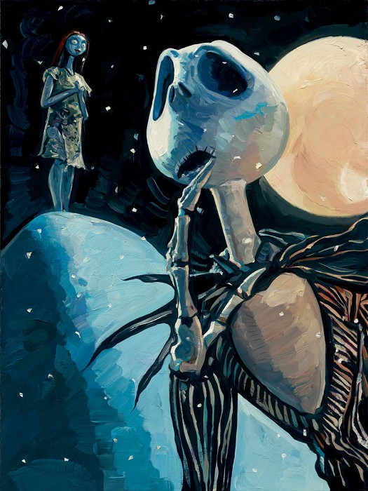 Jim Salvati We're Simply Meant To Be Deluxe - From Nightmare Before Christmas Hand-Embellished Giclee on Canvas