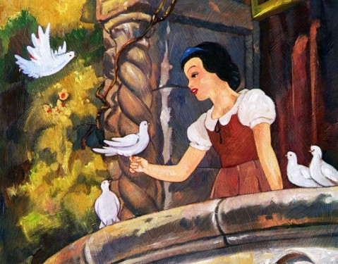 Jim SalvatiSnow White On The BalconyHand-Embellished Giclee on Canvas