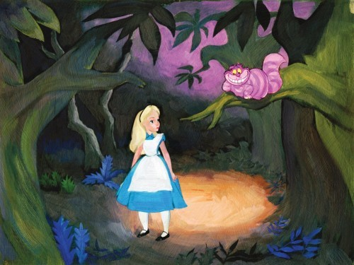 Jim Salvati The Cat Only Grinned - From Disney Alice in Wonderland Hand-Embellished Giclee on Canvas