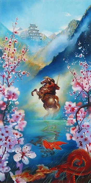 John Rowe A Warriors Reflection - From Disney Mulan Hand-Embellished Giclee on Canvas