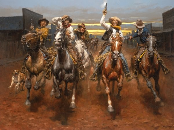 Andy Thomas Charge Of The Bar T Brigade By Andy Thomas Giclee On Canvas  Signed & Numbered