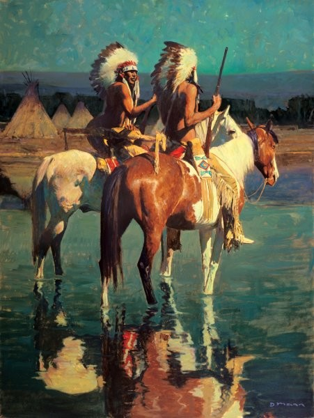 David Mann Cheyenne Camp By David Mann Giclee On Canvas  Artist Proof