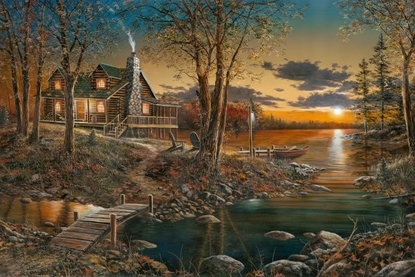 Jim Hansel Comforts Of Home By Jim Hansel Giclee On Canvas  Signed & Numbered