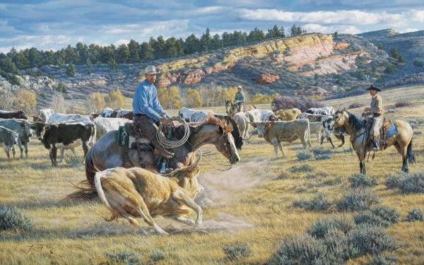 Tim  CoxCowboy Cut By Tim Cox Giclee On Canvas  Signed & Numbered