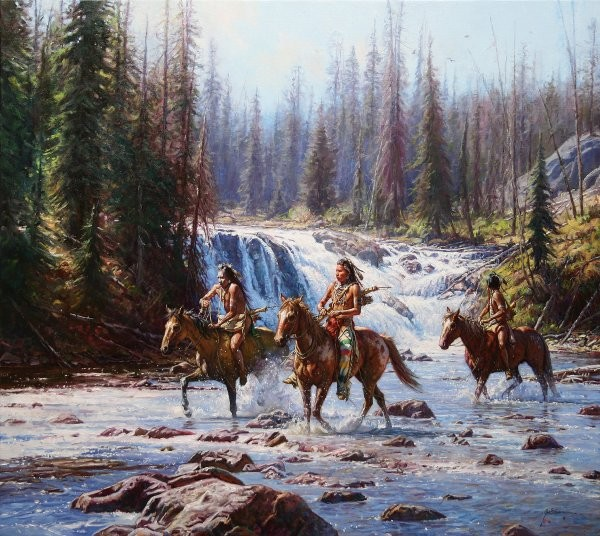 Martin Grelle Crows In The Yellowstone By Martin Grelle Giclee On Canvas  Signed & Numbered