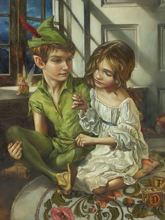 Heather EdwardsSewn to His Shadow From Peter PanHand-Embellished Giclee on Canvas