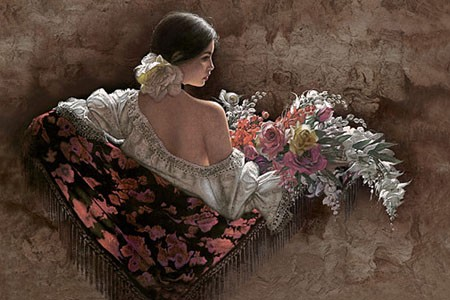 Lee Bogle Flores De La Elegancia Artist Proof Hand Enhanced Giclee On Canvas