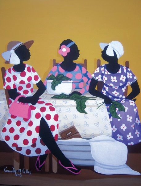 Cassandra Gillens Gossip Over Greens By Cassandra Gillens Giclee On Canvas  Signed & Numbered