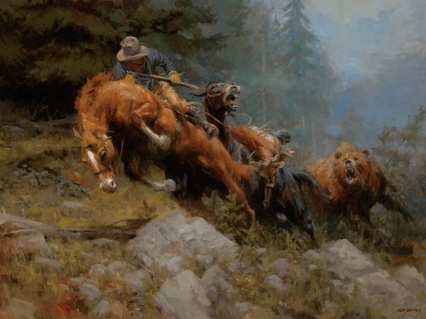 Andy Thomas Grizzly Mountain By Andy Thomas Giclee On Canvas  Signed & Numbered