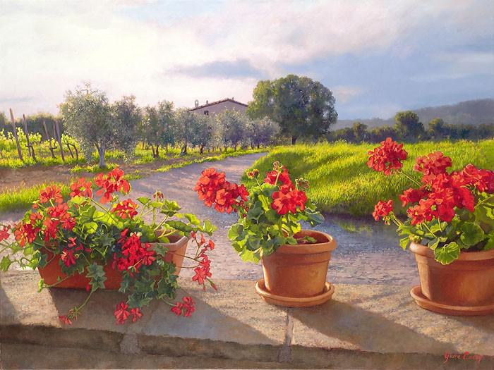 June CareyGeraniGiclee On Canvas