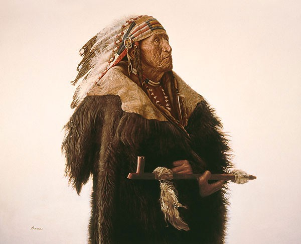 James BamaCrow Indian With Peace Pipe Limited Edition Canvas