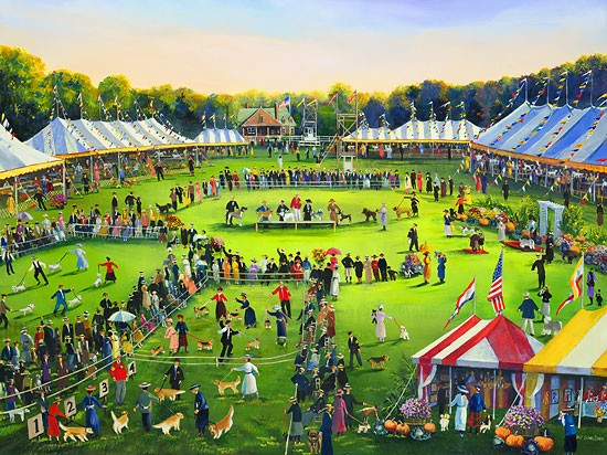 Sally Caldwell Fisher The Dog Show Limited Edition Canvas
