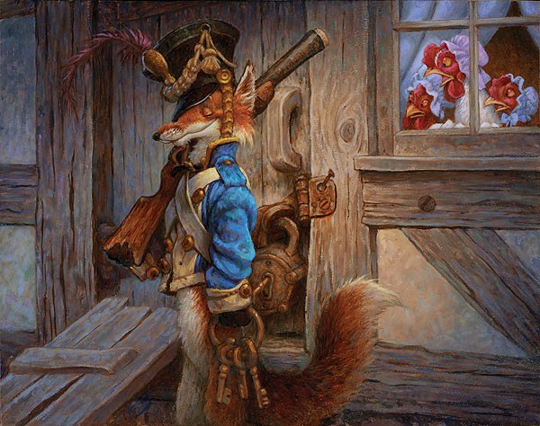 Scott Gustafson The Fox Guarding The Henhouse Smallwork Canvas Edition