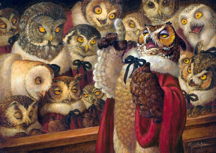 Scott Gustafson A Parliament Of Owls Smallwork Canvas Edition