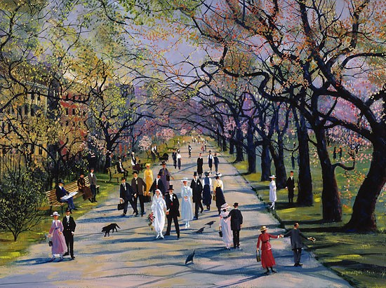 Sally Caldwell Fisher Spring In The Public Garden Limited Edition Canvas