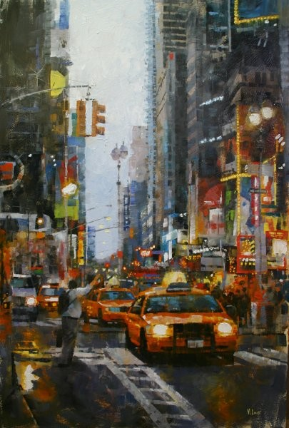 Mark Lague Hailing A Cab By Mark Lague Giclee On Canvas  Artist Proof