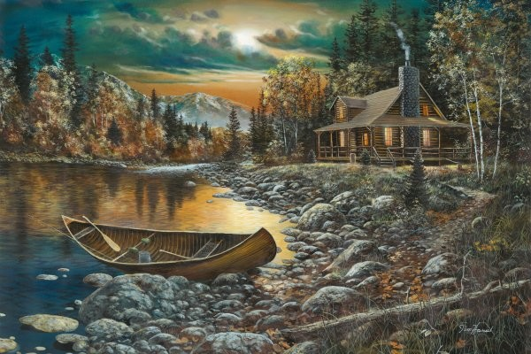 Jim Hansel High Country Retreat By Jim Hansel Giclee On Canvas  Signed & Numbered
