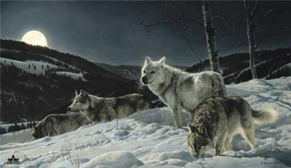 Nancy Glazier Hunters Moon By Nancy Glazier Giclee On Canvas  Artist Proof