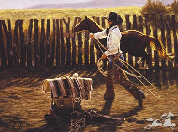 Tim  Cox In The Bronc Corral By Tim Cox Print  Signed & Numbered