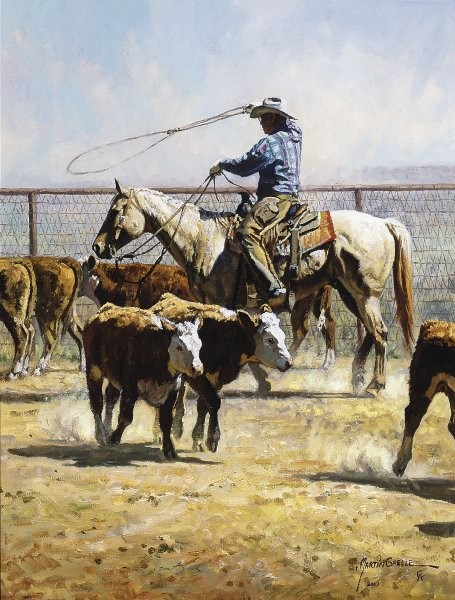 Martin Grelle In The Texas Dust By Martin Grelle Giclee On Canvas  Signed & Numbered