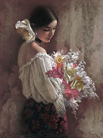 Lee Bogle In The Garden Giclee On Canvas