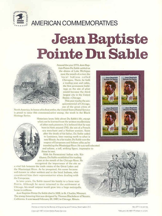 Thomas Blackshear Du Sable-Commemorative Pane