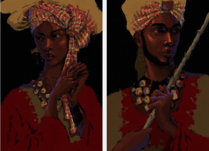 John Holyfield ROYAL NUBIA SET  Giclee On Canvas
