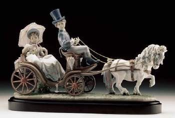 Lladro Through The Park Porcelain Figurine