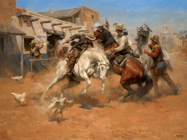 Andy Thomas Leaving Old Mexico By Andy Thomas Giclee On Canvas  Signed & Numbered