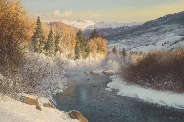Bob WygantMisty Crossing By Bob Wygant Giclee On Canvas  Signed & Numbered