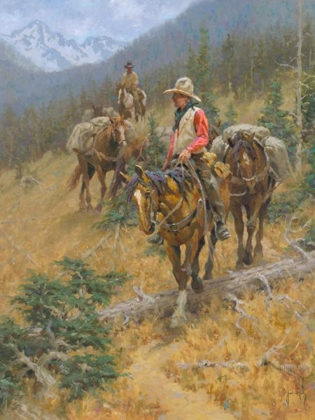 Jim  Rey Mountain Trail By Jim Rey Giclee On Canvas  Signed & Numbered