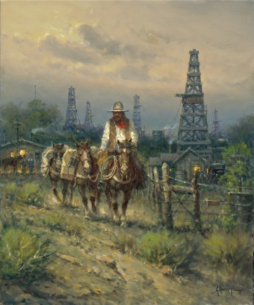 G HarveyOil Field Cowhand By G. Harvey Giclee On Canvas  Signed & Numbered