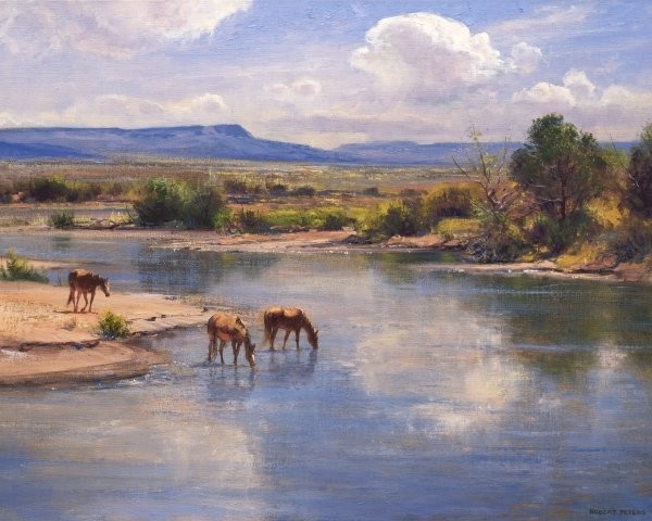 Robert Peters On The Little Colorado By Robert Peters Giclee On Canvas  Signed & Numbered