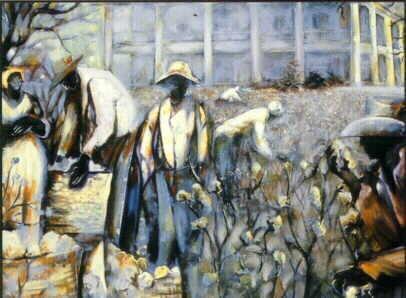 William TolliverPickin' Cotton Artist Signed Lithograph