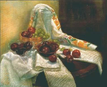 Brenda Joysmith Plums And Green Grapes Giclee