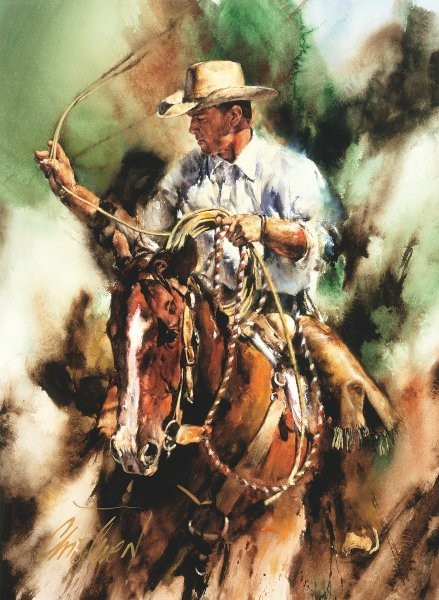 Chris  Owen Ranch Roping By Chris Owen Print  Artist Proof